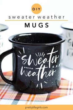 "DIY Sweater Weather Mugs - The Pretty Life Girls | To celebrate fall (or what I have just decided to call ""mug season"") we are making a new mug today to celebrate this time of year and get us ready for lots of tea pouring. This ""Sweater Weather"" mug fits our love for the season, it's temperature and it's goodness perfectly and it's so easy to make with our Silhouette and some adhesive vinyl! Click to see how you make it! #diyproject #craftidea #easycraft #howtomake #vinyl #silhouette #cricut"