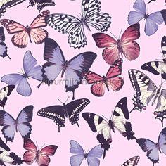 Paars roze vlinders behang BA2601, Botanical van Dutch Wallcoverings