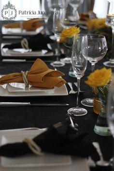 Veja no Blog os detalhes da decoração do jantar executivo-social em preto, amarelo e muita elegância!  Por Patrícia Junqueira {Home, Receber & Baby} http://www.patriciajunqueira.com.br/#!elegncia-em-preto-e-amarelo/cc59  #Patriciajunqueira #Decor #Decoração #Tablescape #Evento #Receberbem