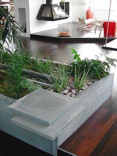 indoor zen garden, concrete design