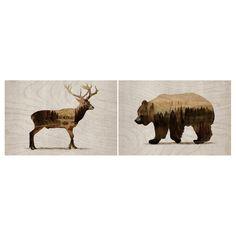 IKEA - BJÖRNAMO, Afbeelding zonder lijst, set van 2, Wilde dieren II, Motief van Tania Bello. De afbeeldingen hebben een diepe lijst en kunnen worden opgehangen of neergezet. Je kan je huis persoonlijker maken met kunstwerken die jouw stijl uitdrukken. Exclusief schroeven voor wandmontage.