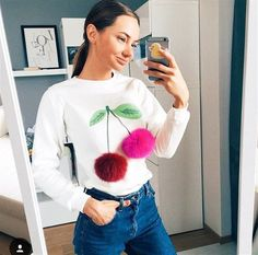 Fashion trend 3D Food ice cream cherries fuzzy balls long sleeve tee t-shirt kpop jpop harakuju vogue SQ12017
