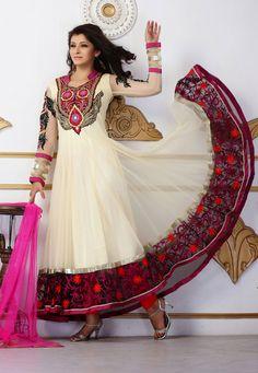 Light Beige Net Anarkali Churidar Kameez Online Shopping: KDU462
