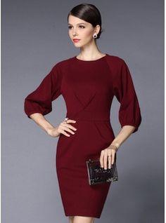 Über dem Knie Rundhals Polyester Baumwolle Elasthan Resin einfarbig Lange Ärmel Modekleider