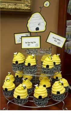 12 Edible Fondant Bumble Bee Cake Cupcake Toppers Party T Beehive Cupcakes, Bumble Bee Cupcakes, Bee Cakes, Cupcake Cakes, Cupcake Toppers, Baby Shower Cakes, Cupcake Signs, Bumble Bee Birthday, Bee Party