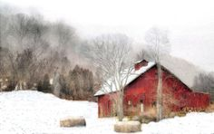 Stunning 'Christmas' Artwork For Sale on Fine Art Prints Watercolor Barns, Watercolor Landscape, Landscape Paintings, Watercolour Painting, Watercolors, Simple Watercolor, Snow Scenes, Winter Scenes, Art Aquarelle