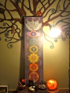Chakra painting creates an energetic & visual backdrop for this sacred space. #chakras