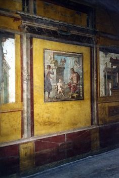 Hercules as a child - Wall painting in the Casa dei Vettii (oecus triclinium) at Pompeii. Ancient Pompeii, Pompeii And Herculaneum, Ancient Ruins, Ancient Artifacts, Ancient History, Pompeii Ruins, Roman History, Art History, Art Romain
