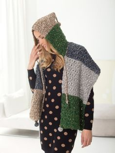 [ Crochet Hooded Shawl ]  I bet this pattern could be converted to knit without much trouble. -- st
