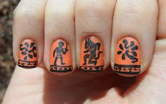 """""""Ancient Greek black figure pottery-inspired nails"""""""