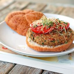 A beautiful vegan burger made with pinto beans, almonds, and sunflower seeds!