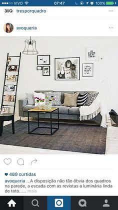 Revisteiro escada, clean, escandinavo, cinza, preto e branco