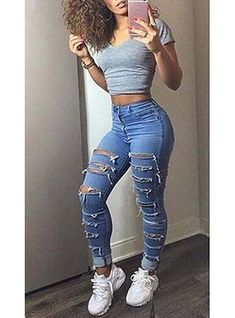 Women's Distressed Skinny Jeans Colorful Fashion, Trendy Fashion, Womens Fashion, Skinny Thick, Stylish Outfits, Cute Outfits, Denim Fashion, Fashion Outfits, Fall Collection