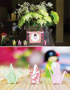 Colorful Japanese Little Kokeshi Birthday Party Origami cranes From Trinkets By Dana on Etsy.