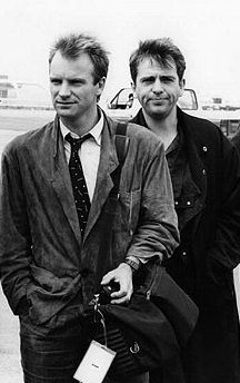 Sting (..The Police), with Peter Gabriel (..The Genesis), 80s - b/w photo.