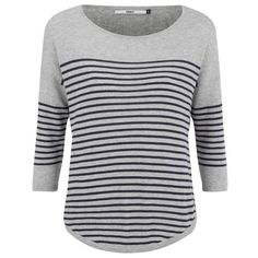 ONLY Womens Scarlett Stripe Jumper ($30) ❤ liked on Polyvore featuring tops, sweaters, grey, loose sweater, crewneck sweater, crew-neck sweaters, gray crewneck sweater and grey sweater