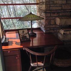 Fallingwater - - desk in master bedroom / Mrs. Falling Water Frank Lloyd Wright, Falling Water House, Tiffany Lamps, Corner Desk, Master Bedroom, Waterfall, Mid Century, Pittsburgh, Study