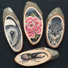 Artist Kirsten Roodbergen celebrates the organic beauty of a wooden canvas with her bold, nature-themed drawings.