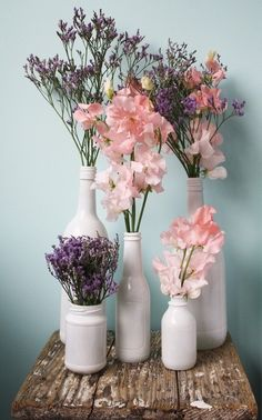 Take floral arrangements into your own hands with these budget-friendly ideas. 31 DIY Floral Arrangements for Adding Some Flower Power to Your Home Love Flowers, Beautiful Flowers, Wedding Flowers, Diy Flowers, Flower Vases, Purple Flowers, Meadow Flowers, Beautiful Bouquets, Bottle Painting