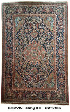 Qazvin Antique Persian Carpet -  Early XX  207x136