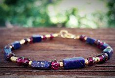 Lapis bracelet https://www.etsy.com/listing/242410533/lapis-lazuli-bracelet-garnet-bracelet