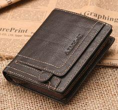 Short Wallet/Dark-brown Leather  Wallet /Purse/ Short Cellphone Wallet/ Card Holder.