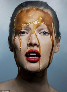 Oh no, honey: Model Toni Garnn, 23, posed with honey dripping down her face for a series of portraits