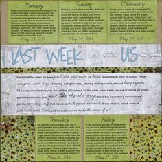 Journal about your week and create a scrapbook page without photos...just get the story documented...memory keeping without photos