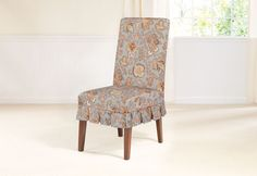Sure Fit Slipcovers Tennyson By Waverly™ Short Dining Chair Slipcover    Shorty In Topaz
