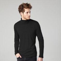 T-shirt col roulé noir -Homme - IZAC - tshirt - hiver