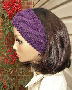 Headband Purple Ear Warmer Hand Knit Wool Acrylic by KnitteryRow