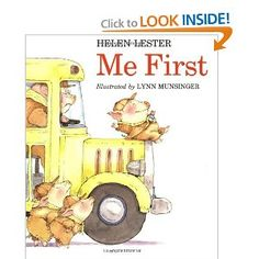 me first by Helen Lester.  Could use to address emotions/perspective taking by printing out speech bubbles with possible thoughts of the other characters on them and have the client match what the speech bubble with the character on the page.