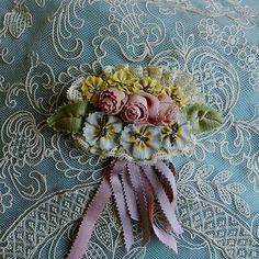 Antique, French silk  ribbons , ribbon work piece, doll dress, bonnet