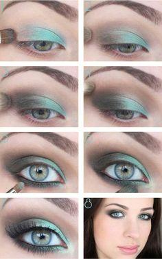 Maquillaje de ojos, tonos verde y gris difuminados