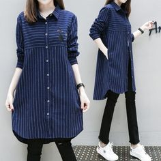 Women mid-length long sleeves shirt