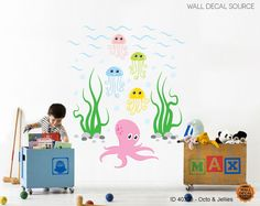 Click here to buy the adorable Octopus and Jellyfish Wall Decals - Ocean Life Sea Vinyl Stickers only $30.00