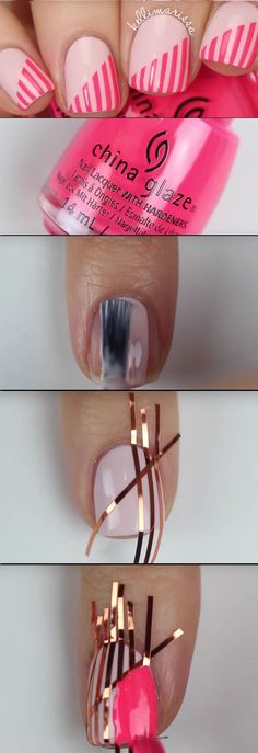 Super Easy Nail Art Ideas for Beginners - DIY Beginner Striping Tape Nail Art Tutorial KELLI MARISSA - Simple Step By Step DIY Tutorials And Pictures For Nailart. Ideas For Every Style, All Hair Colors, Sparkle, Valentines, And other Awesome Products To Make It DIY and Super Easy - https://thegoddess.com/nail-art-ideas-beginners