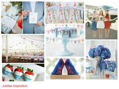 Jubilee Inspiration moodboard, red white and blue colours, wedding inspiration http://www.pierrecarr.com/blog/2012/06/jubilee-celebration-inpiration/  #PierreCarr #Moodboards
