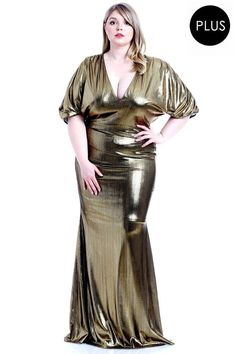Great for Metallic Ribbed Deep V-neckline Dress Fashion women dresses from top store Plus Size Maxi Dresses, Dresses For Sale, Ribbed Dress, Curvy Dress, Jumpsuit With Sleeves, Necklines For Dresses, Gold Dress, Metallic Dress, The Fresh