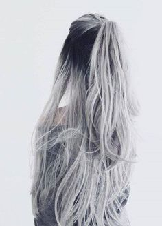 Straight Full Head Clip in Synthetic Hair Extensions white silver hair ombre hair color Valentine's Day Hairstyles, Braided Hairstyles, Hairstyle Ideas, Hair Ideas, Wedding Hairstyles, Grey Hair Wig, Grey Hair Ponytail, Half Ponytail, Lilac Hair
