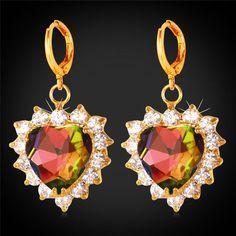 Crystal Zirconia Mystic Topaz Heart Drop Earrings For Women Fashion Jewelry Gift Romantic Gold Plated Dangle Earrings E1184