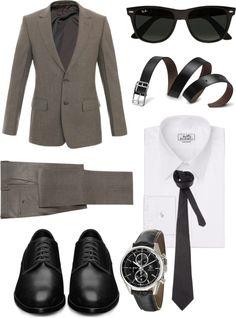 7d2bdffe28 Die  Black Shoes + Sand Suit + White Simple Shirt + Black Satin Tie +