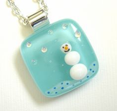 The Tiny Snowman Fused Glass Necklace. via Etsy.