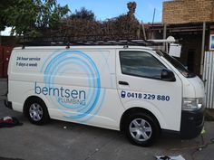 Vehicle graphics for Berntsen Plumbing. High grade vehicle vinyl applied. Designed and installed by Sign A Rama Box Hill.
