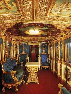 Train Car of King Ludwig II of Bavaria Traveling in style ... Repinned by www.gorara.com
