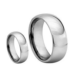 2 Qty 8MM & 6MM His & Her's Polished Shiny Domed Tungsten Carbide Wedding Band Ring Set (Available Sizes 5-14 Including Half Sizes) Please e-mail sizes Tungsten Ring Set http://www.amazon.com/dp/B00HNFRB1Q/ref=cm_sw_r_pi_dp_-9Czwb1DXBQ8Y