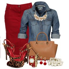 Steppin Out In Leopard and Red by dixiendottie on Polyvore featuring Cesare Paciotti, MICHAEL Michael Kors, Accessorize, La Mer, The Limited and Style & Co.