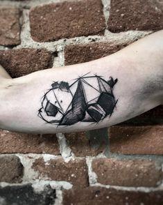 Inez Janiak panda tattoo - New Tattoo Models Sexy Tattoos, Black Tattoos, Body Art Tattoos, Sleeve Tattoos, Cool Tattoos, Origami Tattoo, Tattoo Maria, Geometric Shape Tattoo, Geometric Tattoo Panda