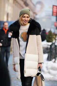 70 Looks From The Fashion Olympics #refinery29 http://www.refinery29.com/62354#slide13 Jessica Hart's colorblocked coat is the ultimate in sporty-chic.