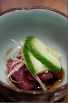 Amuse bouche of tuna sashimi.